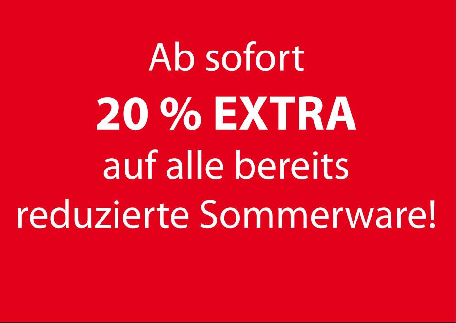 Ab sofort 20 % EXTRA auf alle bereits reduzierte Sommerware! Gilt natürlich auch bei THEIS-Outdoor für Damen & Herren!